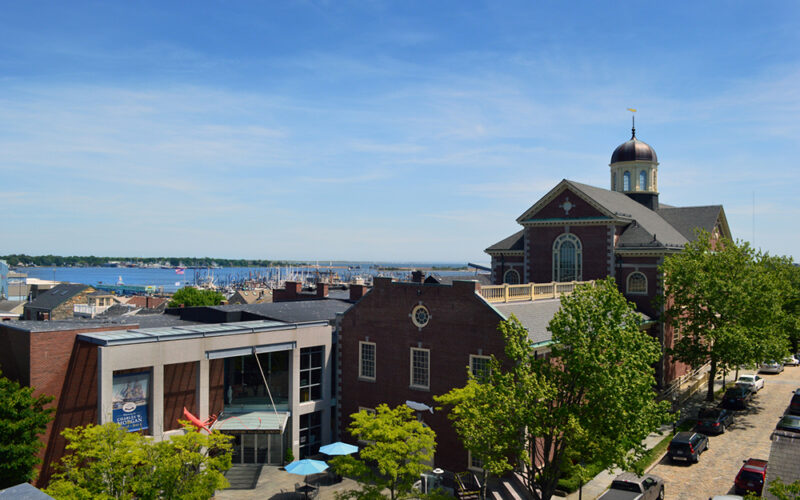 Aerial view of the New Bedford Whaling Museum & Plaza