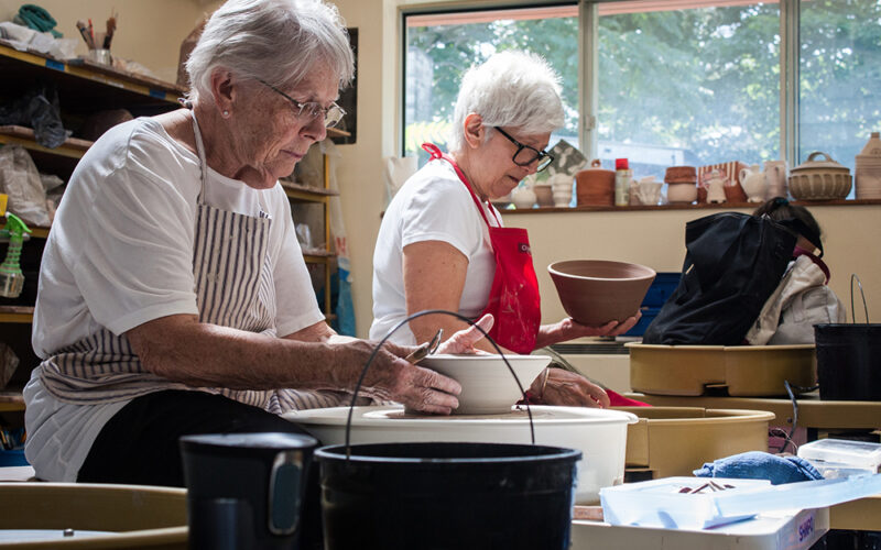 Artists making pottery