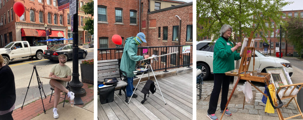 Three pictures of people doing plein air painting in Haverhill: In one, a man sitting in a chair on a busy sidewalk painting. In another a man stands on a wooden walkway painting. In the third, a woman stands next to a parking lot painting.