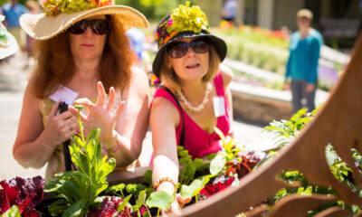 two women in floppy, floral hats touching plants in the Garden within Reach